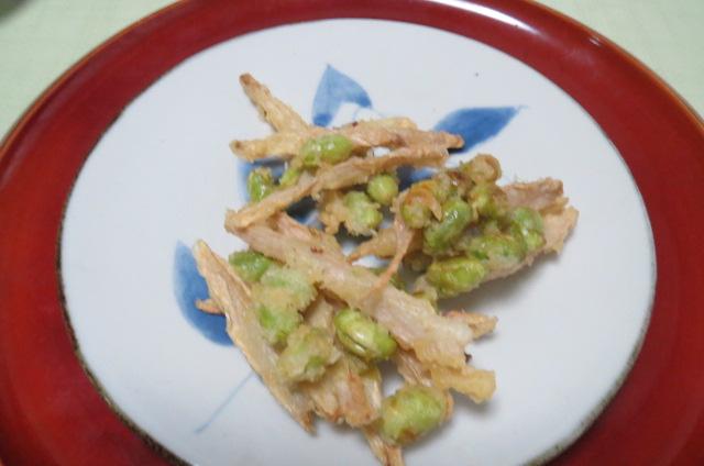 新生姜と枝豆のかき揚げ