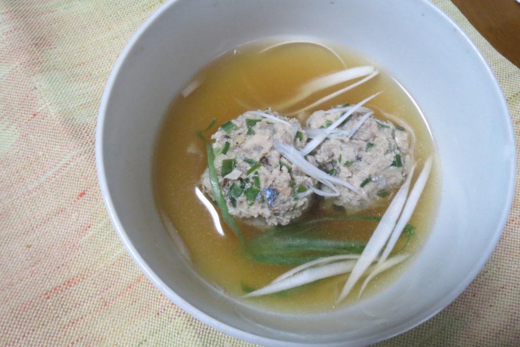 秋刀魚のつくね汁。