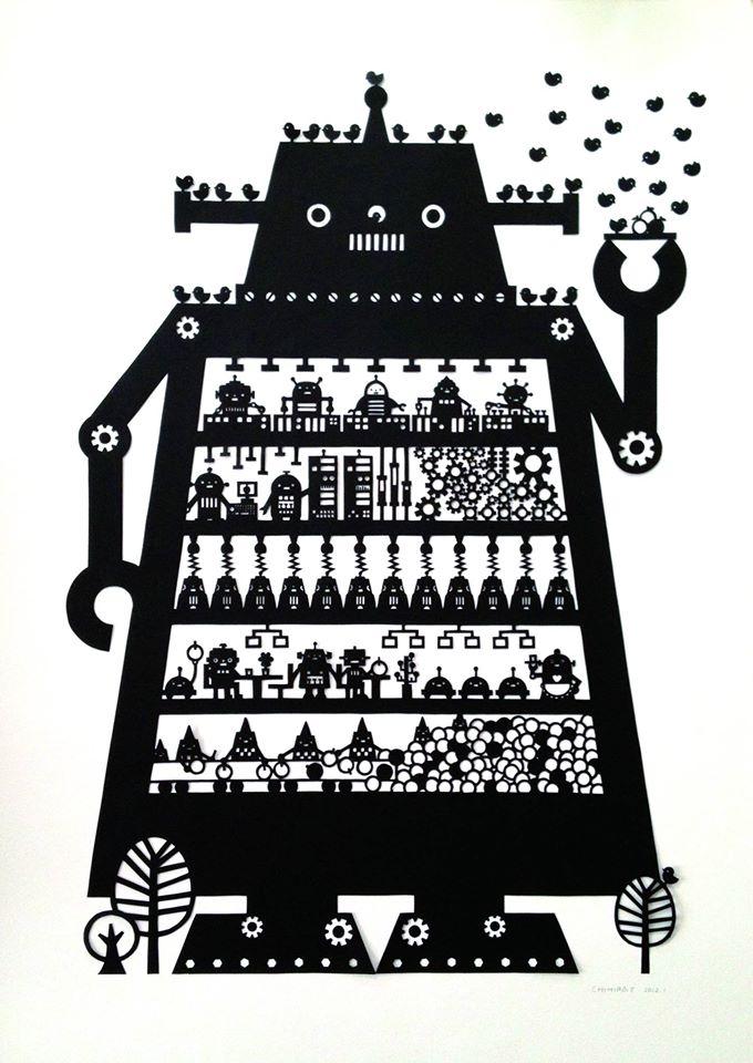 切り絵作品・ロボット工場